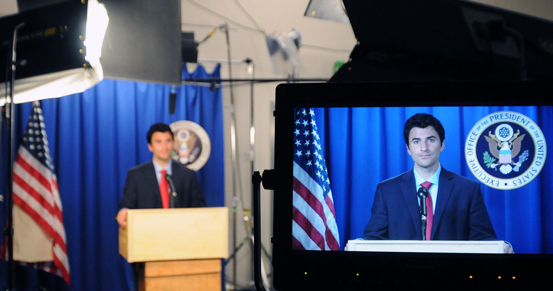 Political actor on monitor