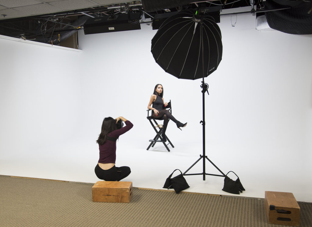 Ellen Huber photographs Model Tyra Jackson in Rock Creek Production's Herndon, VA, Studio