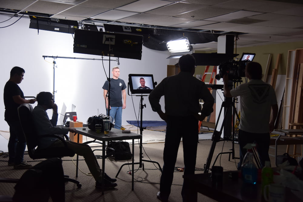 a video production crew shooting a training video