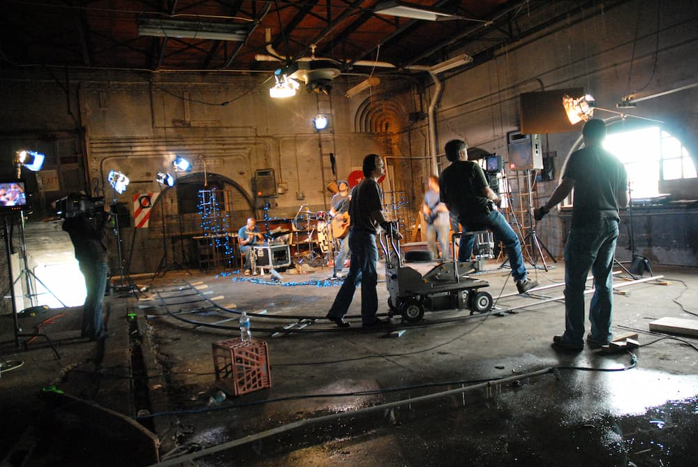a video production team shooting a promotional music video
