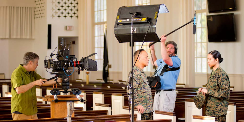 a production team shooting a video series in a church